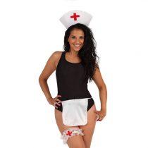 Cofia, delantal y liga de enfermera