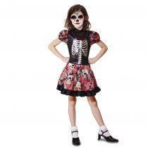 Disfraz de niña con esqueleto