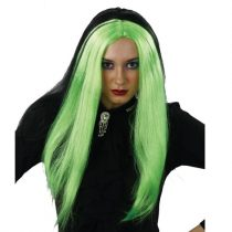 Peluca negra/verde larga